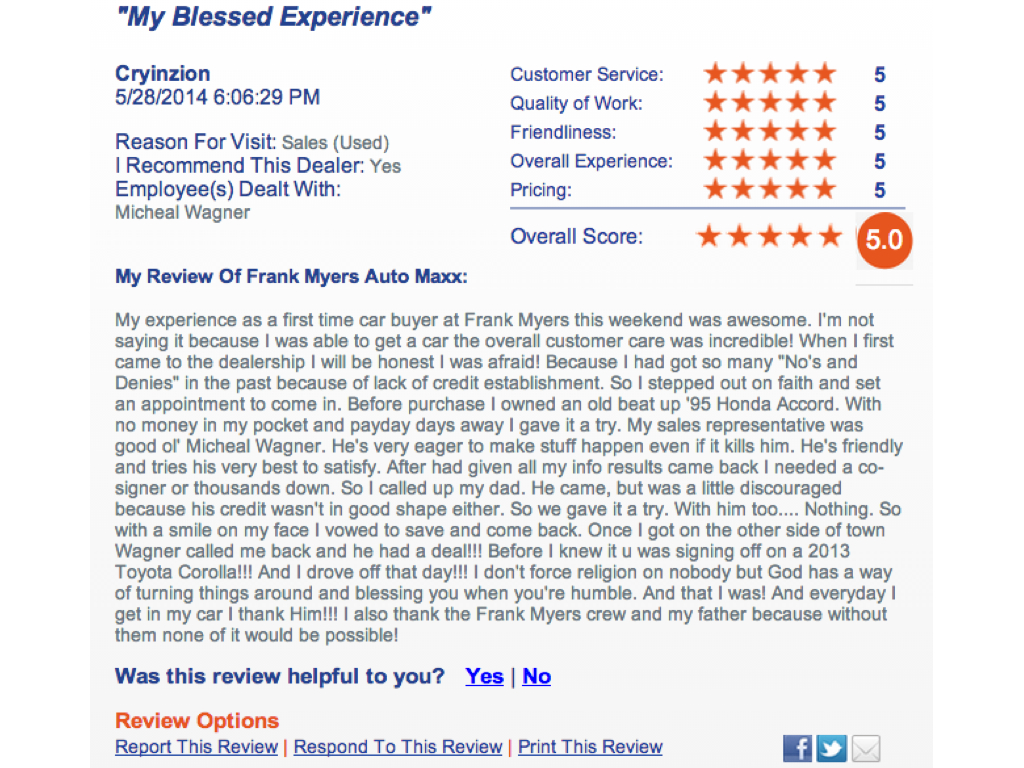 Frank Myers Auto Reviews